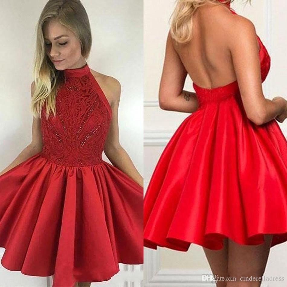 be7f10f4416 Little Red Homecoming Dresses High Neck Sexy Open Back Satin Lace Red Short  Prom Dresses 2018 Beads A Line Cocktail For Graduation BA9627 Good  Homecoming ...