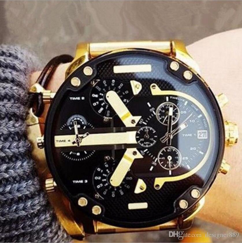 3280a6d6eec1 Compre DZ 7331 Reloj De Marca De Lujo Para Hombre Grande Reloj De Pulsera  Militar 2 Zona Horaria Hombres Reloj Deportivo Vestido De Moda Relojes Reloj  De ...