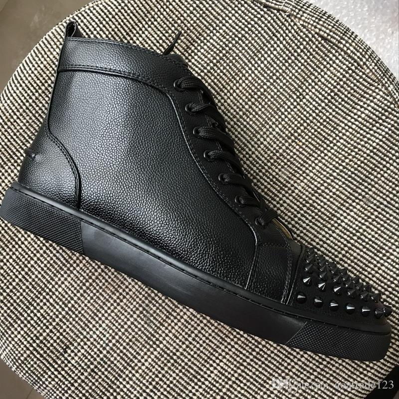 super popular 473e0 dd5a0 New Arrivals Men Women Spikes Toe Red Bottom Sneakers,Brand Designer Black  Lichi Pattern Leather High Top Causal Shoes 35-47