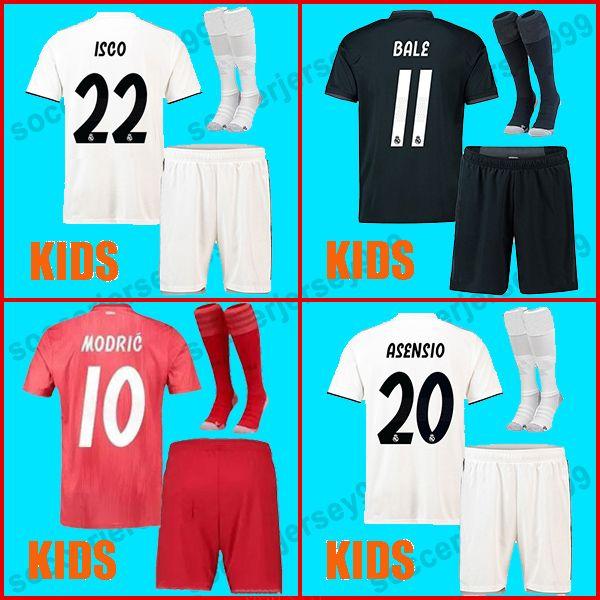 2019 TOP Quality Real Madrid Jerseys Kids Kit 2018 2019 Soccer Jersey  MODRIC ASENSIO VINICIUS JR Football Shirt Uniforms BALE 18 19 ISCO Camiseta  From ... f44fb0b1f
