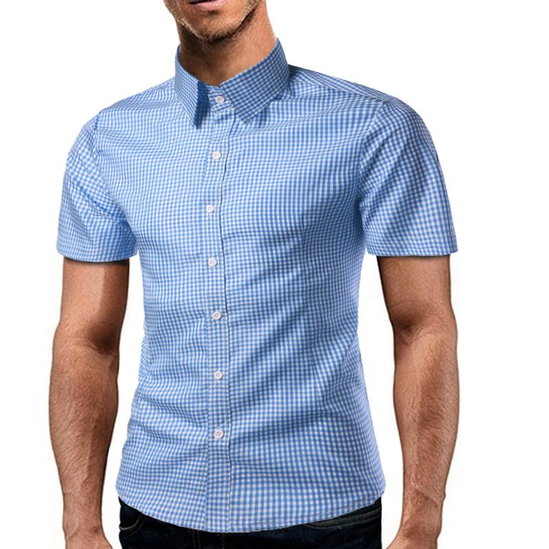 61b303dc9b Compre Camisa De Manga Corta Para Hombres Camisas Para Hombres Camisa De Hombre  Camisa De Vestir Para Hombre Con Cuadros De Algodón Camisa Hawaiana Camisa  ...