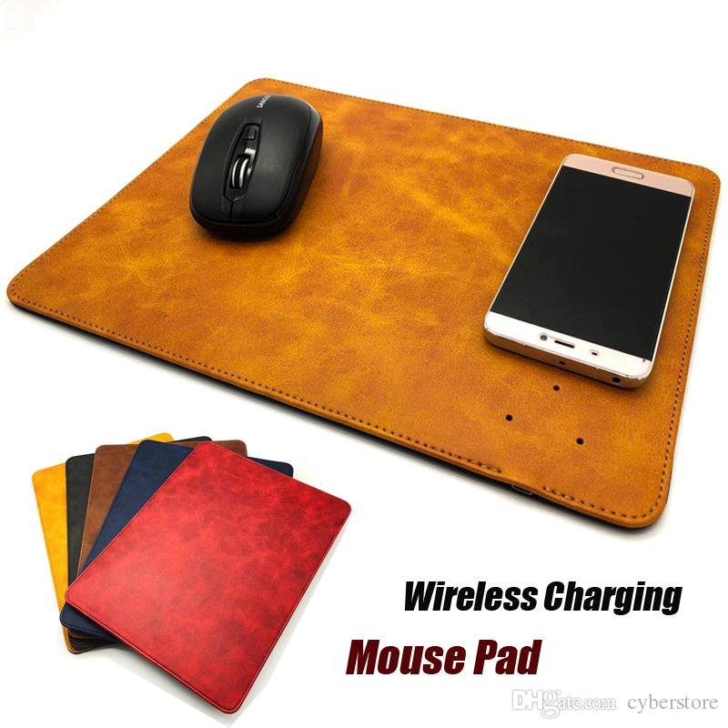Caricabatterie wireless in pelle Mouse Pad 2 in 1 Caricabatterie portatile Pad portatile per iPhone X XR XS Max 8 Samsung Note 8 S8
