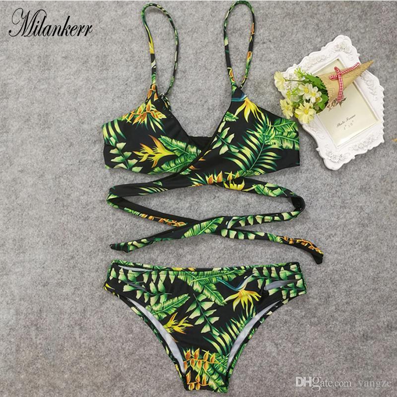 59163ebddb 2019 Summer Women Floral Print Tankini Swimsuit And Plus Size Swimwear  Green Patterned Bikini Top High Waist Swimsuit RF1332 From Yangze, $9.32 |  DHgate.Com