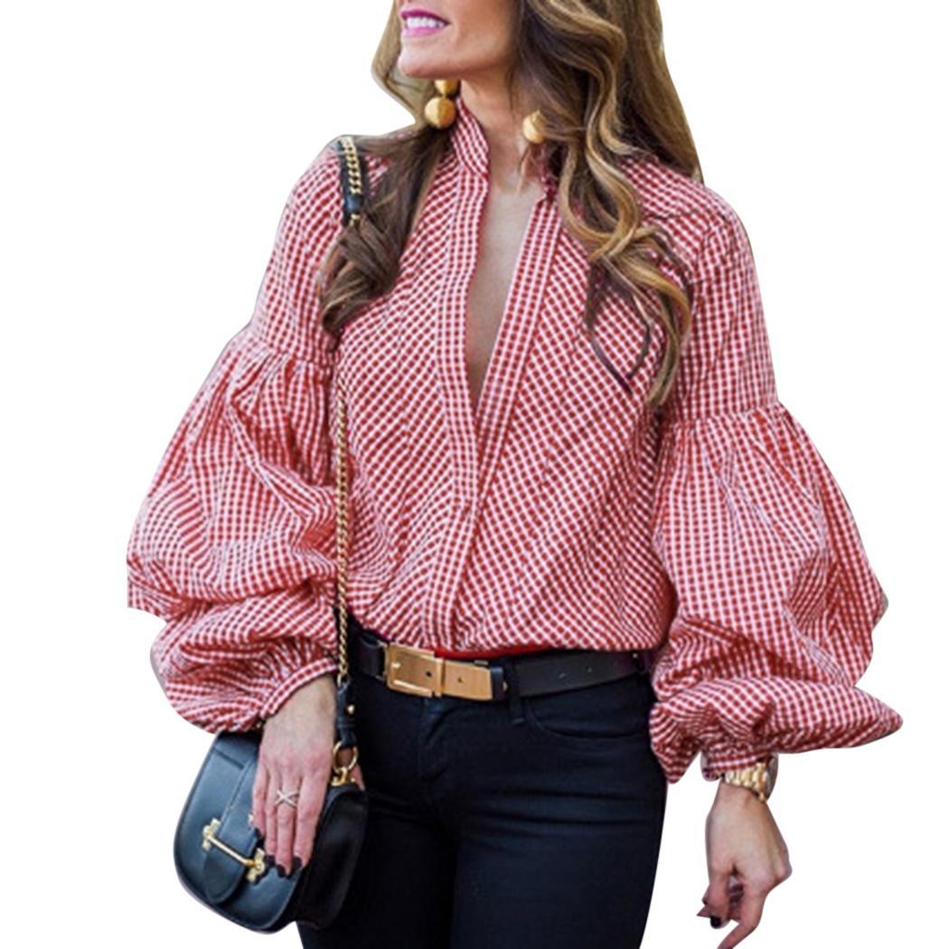fad7267d0e97a 2019 Vintage Puff Sleeve Plaid Blouse Women Shirts Korean Fashion V Neck  Long Sleeve Tops 2018 Autumn Female Red Blue Blouses Blusas From  Yangfan515