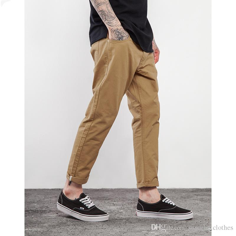 402ce24aeeea Men Ankle Cropped Trousers Capri Length Pants Plain Casual Trousers Men  Pants Online with  39.53 Piece on Superhotclothes s Store