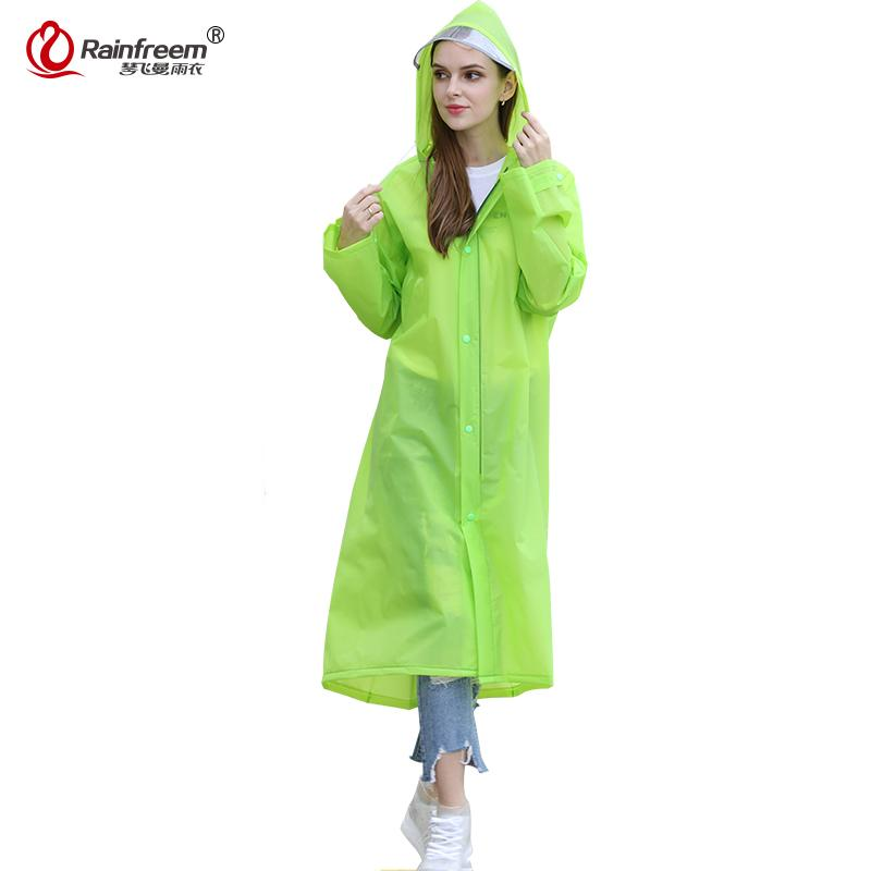 f9db2f4e3 Rainfreem 2017 Spring Portable EVA Raincoat Women/Men Impermeable Plastic  Transparent Rain Coat 7 Colors Rain Gear Poncho
