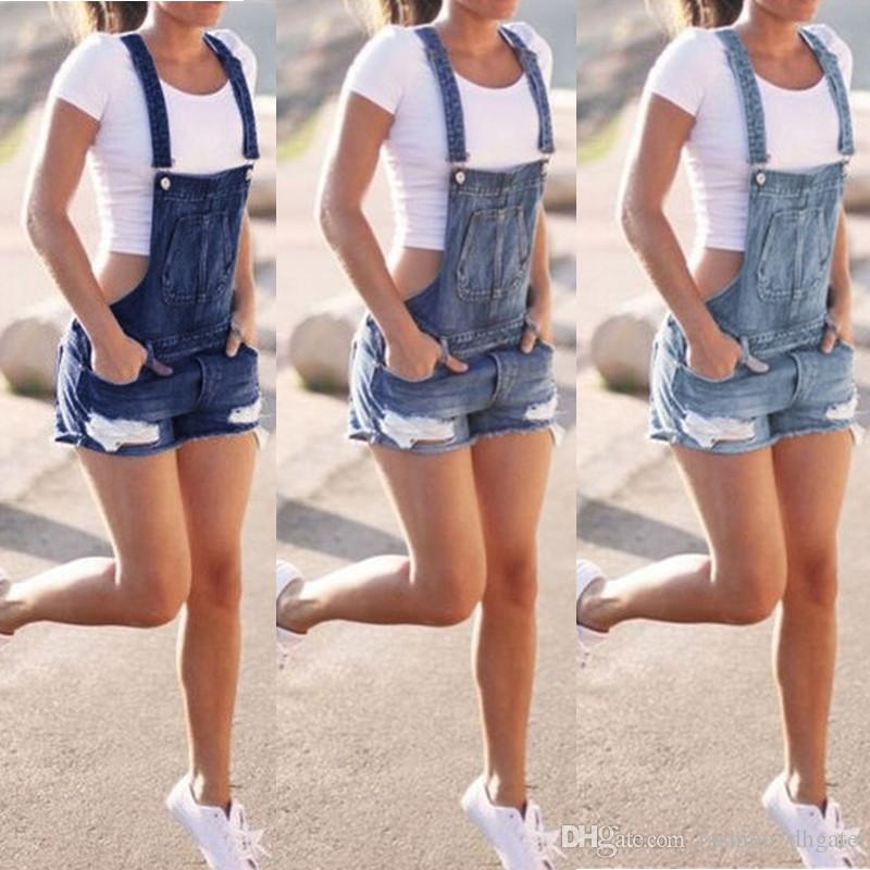 Fashion Women's Shorts Denim Jumpsuit Skinny Fit Female Patch Pocket Ripped Blue Jeans Short Overalls For Women Plus size
