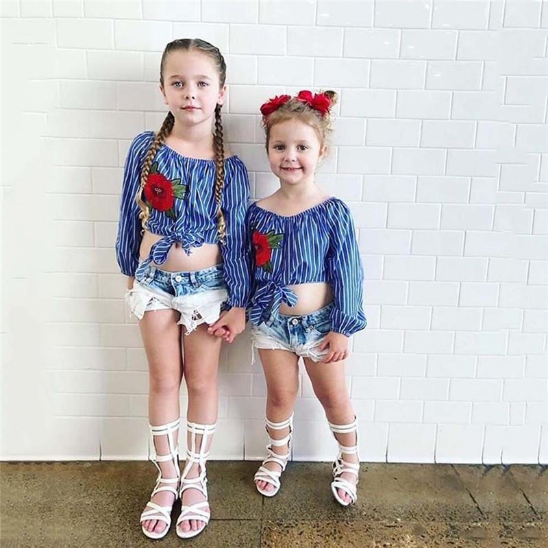 3dde5173d2b3e Kid Baby Girl Kid Enfant Crop Top Striped Rose Flower T Shirt Blouse Denim  Short Jeans Elastic Waist Pants Clothes Outfit Set