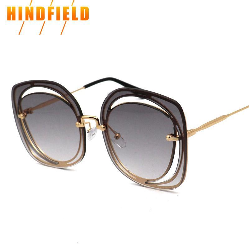 cde4f01990 2018 New Clear Sunglasses Women Brand Designer Oversized Square Shades  Fashion Rimless Hollow Sun Glasses Female Tinted Eyewear Prescription  Sunglasses ...