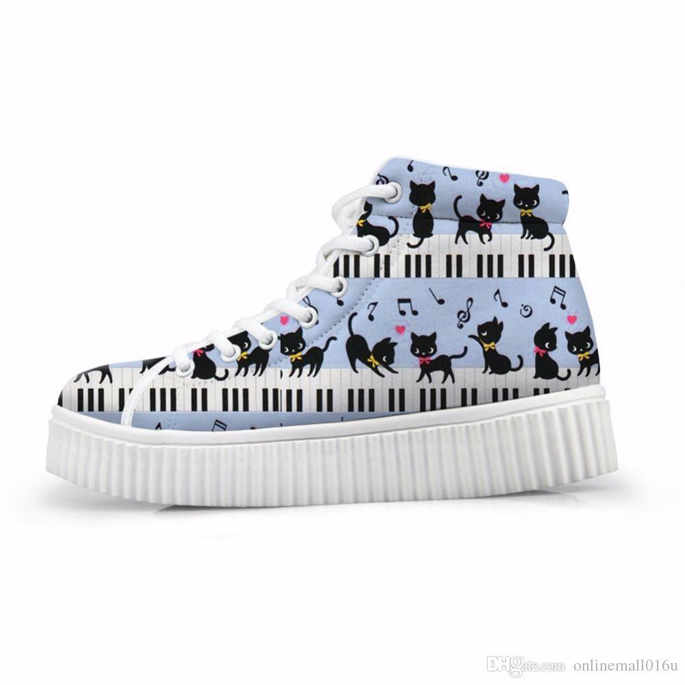 b6cf6e86769da Cute Cartoon Cat Print Women Flat Platform Shoes Piano Music Note Autumn  Winter High Top Height Increasing Shoes