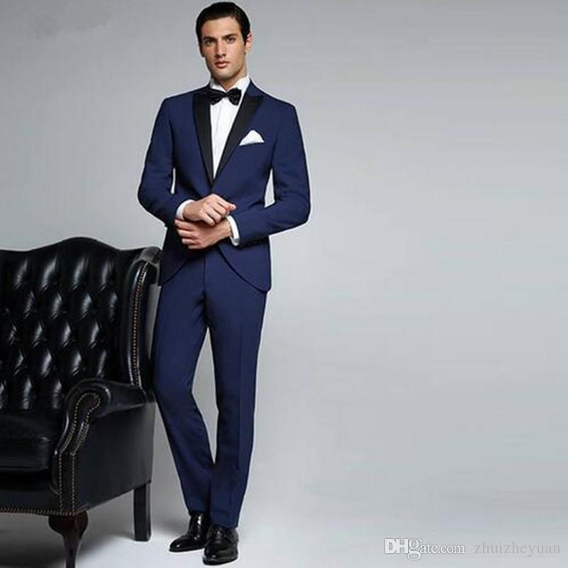 5781327cff07 Latest Design Navy Blue Wedding Suits Peaked Lapel Men Suits Slim Fit Groom  Wedding Tuxedos Custom Made Jacket+Pants Wedding Tuxedos For Men Wedding  Tuxes ...