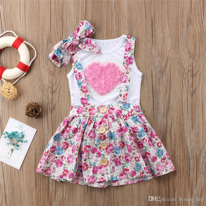 7de0b0eee5b 2019 Floral Kids Baby Girls Elder Sister Dress Outfits Clothes T Shirt Vest  Skirts Hairband Set Pink Heart Family Matching Clothing Toddler From  Bonne kid
