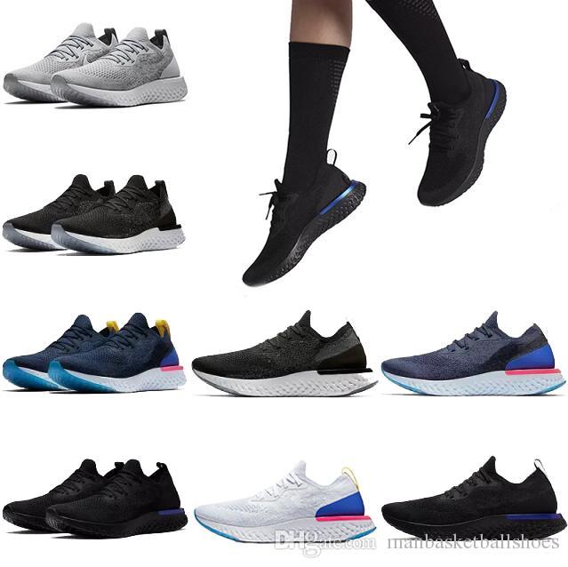 wholesale dealer ed1df f0cb5 Acheter Mode Epic React Tricot Chaussures De Course Hommes Femmes Belgique  Black Oreo Scarpe Plus Récent Été Sports De Plein Air Sportif Homme  Sneakers ...