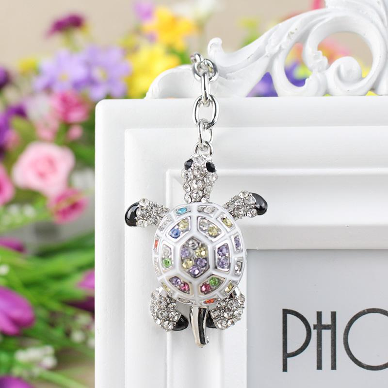 Keychains for Bags Lovers Gift Beautiful Rhinestone Tortoise Keychains Keyring Turtle Metal Crystal Key Ring Chains