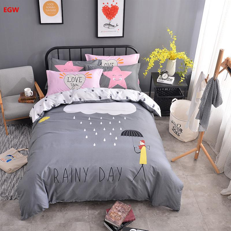 100 Cotton Bedding Set Gray Rainy Day Star Duvet Cover Queen Twin