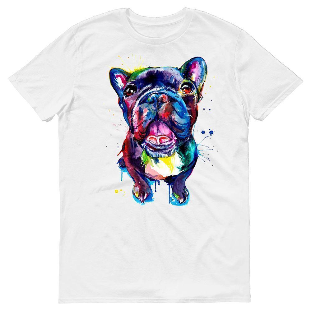 Boston Terrier Pitbull Dog Water Colour Painting Art Mens T-Shirt Summer  Short Sleeves Cotton Fashiont Shirt Fashion 100% Cotton T-Shirt