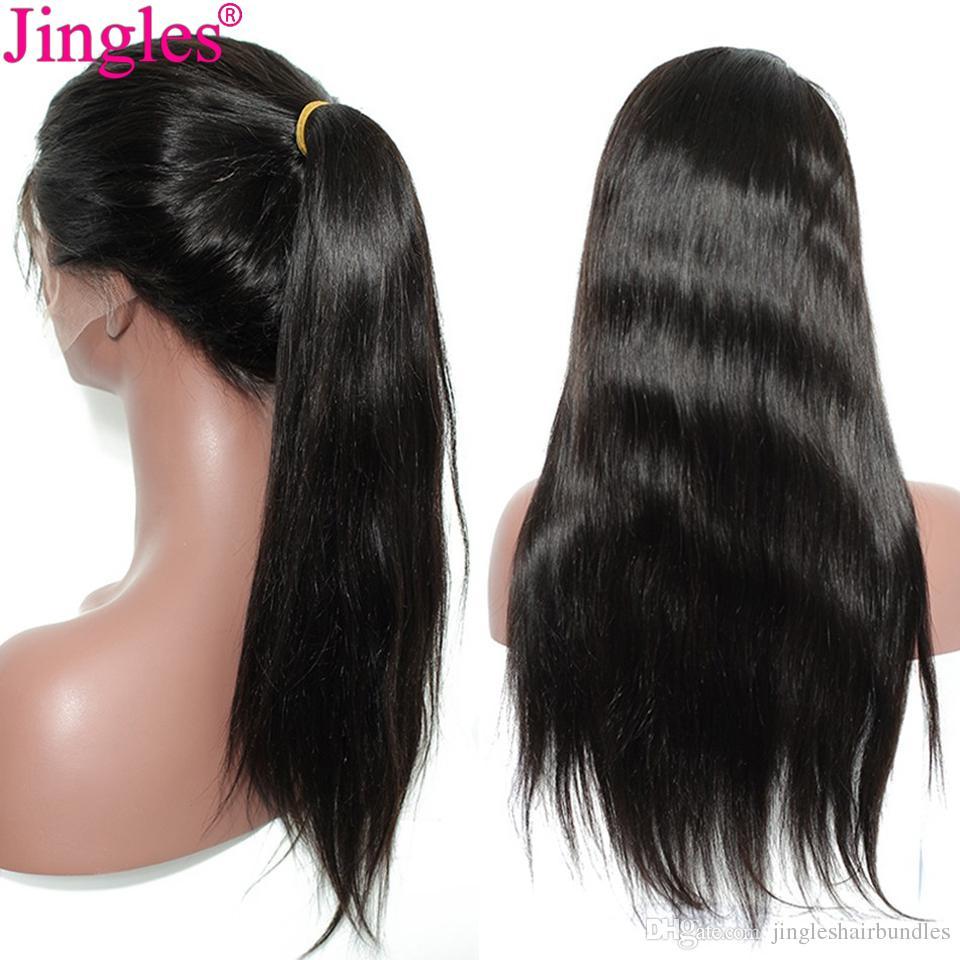 Pelucas delanteras rectas del cordón Jingleshair cutícula brasileña  alineada sin procesar Remy pelo sedoso pelucas delanteras del cordón para  las mujeres ... 8f253c73d380