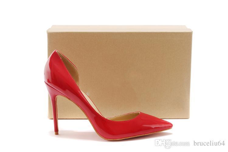 00c22bc2c40d Original Box Women Dress Shoes Black Sheepskin Patent Leather Poined Toe  Lady Pumps 10cm 12CM Fashion High Heels Shoe For Women Wedding Shoe Stacy  Adams ...