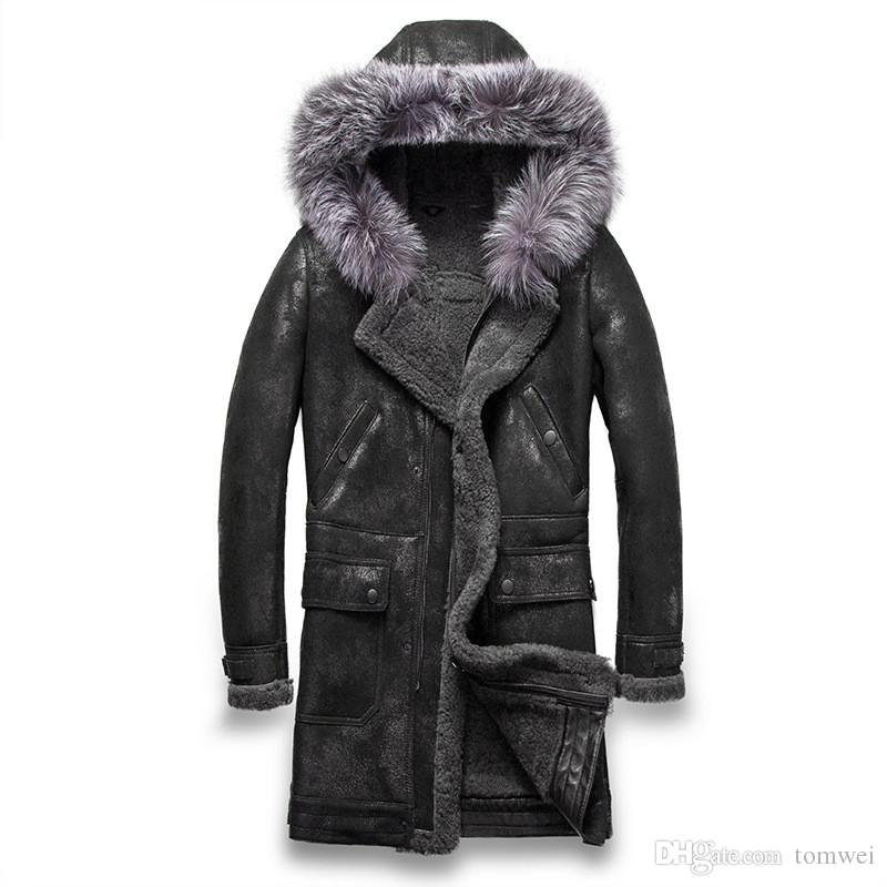 a72fea096a 2019 Mens Genuine Leather Jackets Real Fur Coats 100% Sheepskin Shearling  Thickening Hood Warm Outdoor Outwear Overcoat Snow Tops New Fashion From  Tomwei, ...