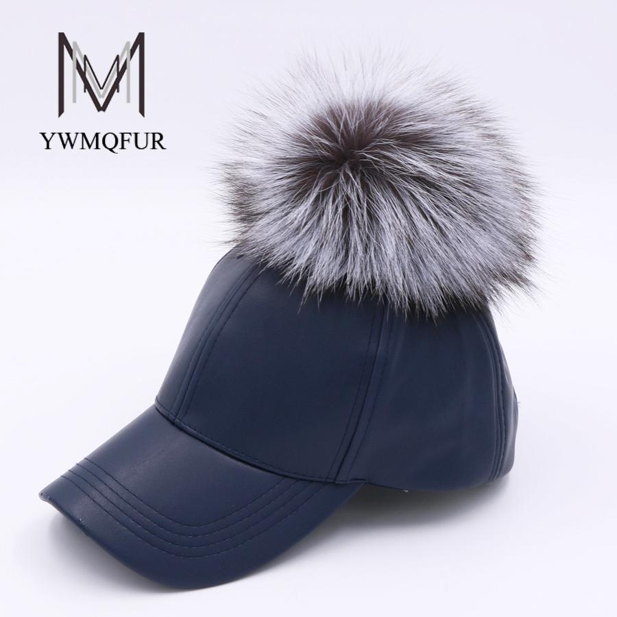 641bfa05015 YWMQFUR 2017 New Winter PU Leather Baseball Cap With Fox Fur Ball Pom Pom  Biker Snapback Hats For Women And Men Hats Caps H104 Cheap Snapback Hats  Hats ...