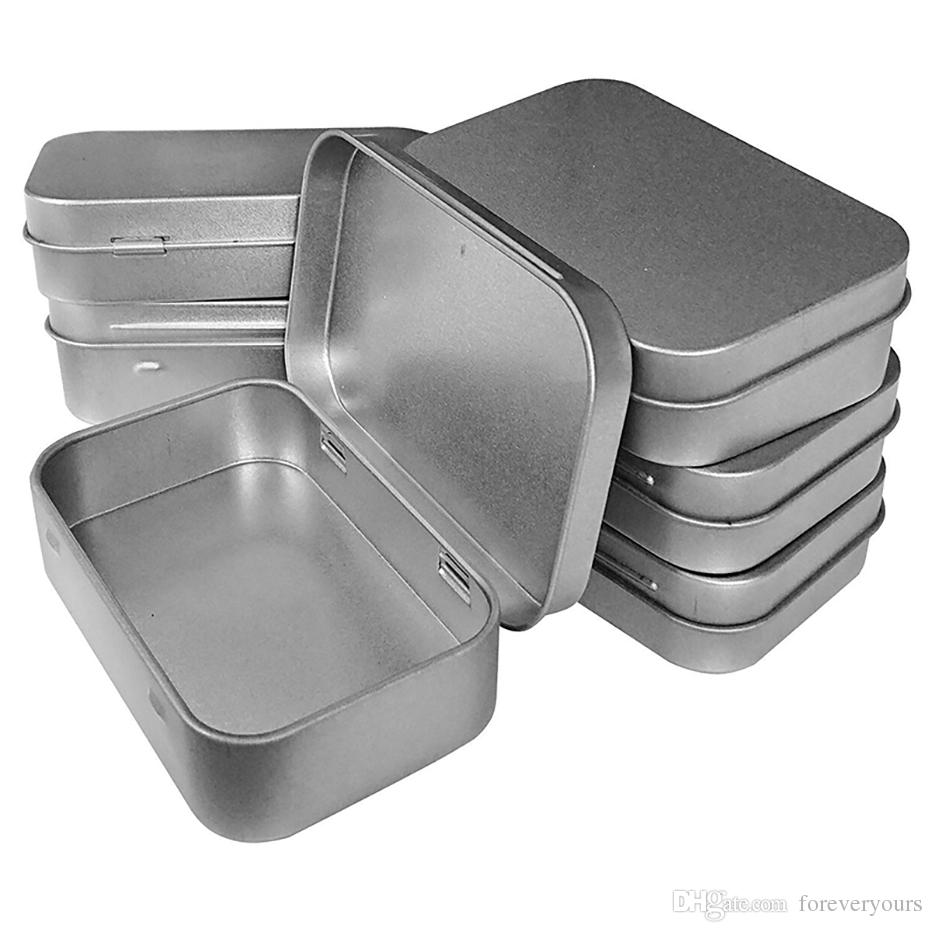 2019 Metal Hinged Top Tin Box Containers Portable Small