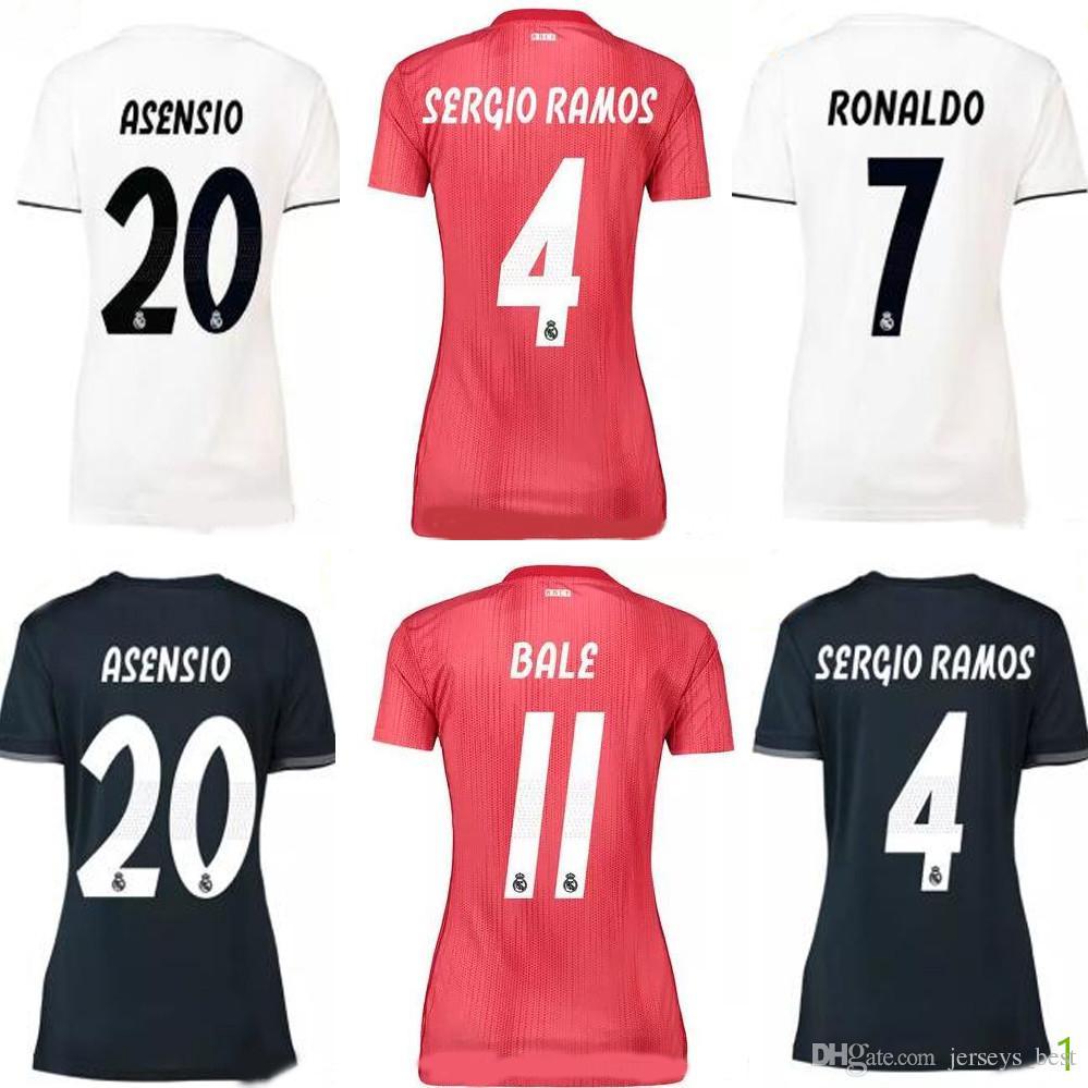 Mujeres Real Madrid 2018 2019 PELIGRO ASENSIO Blanco Negro Camisetas De Fútbol  Camisetas Mujer Mujer 18 19 Kroos Ramos Modric ISCO Bale Shirts Por ... 1b077a66648