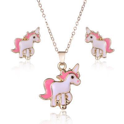 Compre Unicornio Juegos De Joyas Unicornio Collar Pendiente 3 Unids