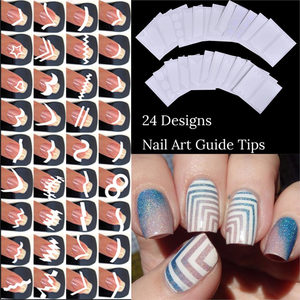 24 Sheetsstyle French Tip Guides Finger Manicure Straight Wavy Line