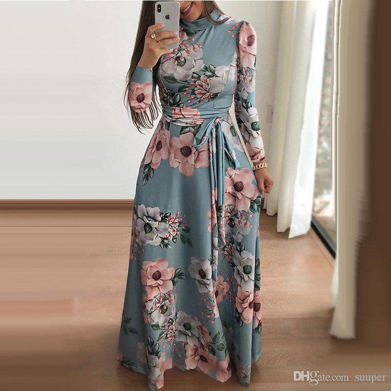 d6c8173fd7 2019 Women Turtleneck Long Sleeve Maxi Dress Autumn Winter Floral Print Long  Dresses Beach Boho Style Back Zipper Floor Vestidos From Suuper