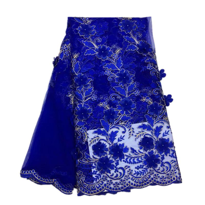 3D embroidery Sewing Lace Fabric DIY Women Dress Designs Flower Tulle Lace Fabric Summer Dresses African Clothing 5 Yards/piece