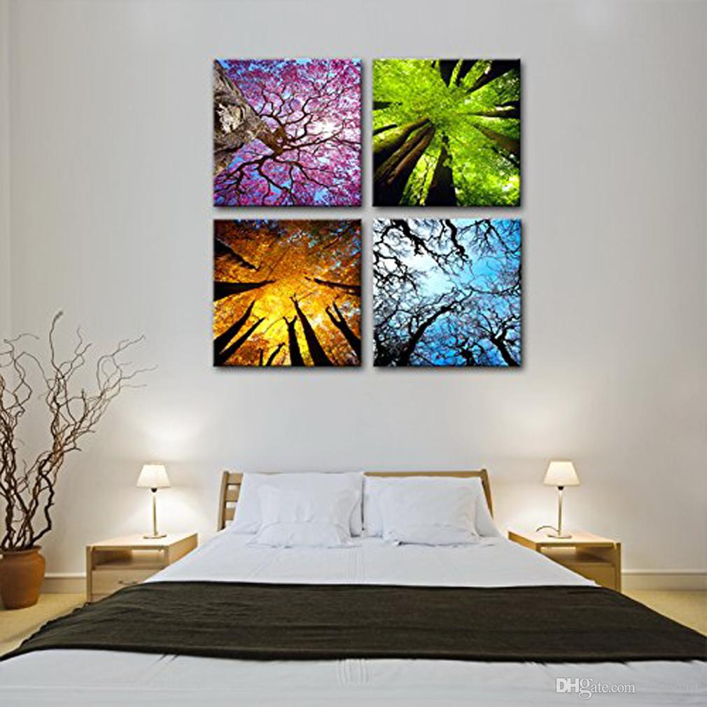 4 Panels Four Seasons Tree Canvas Painting Wall Art For Home Decoration Ready To Hang With Wooden Framed Landscape Painting Print On Canvas