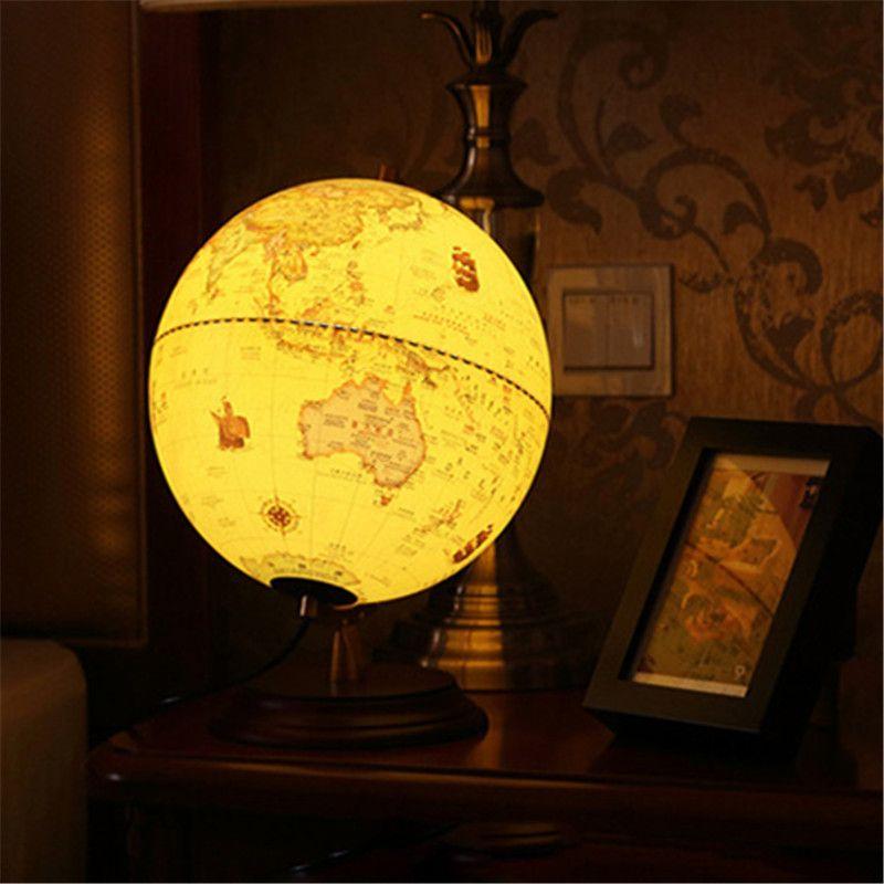 2019 American Vintage Led Globe Table Desk Lamp Home School Office