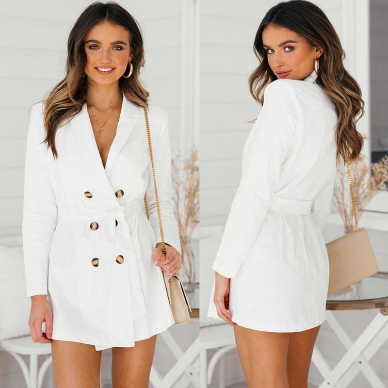 7e9d5e03b3549 Compre Las Mujeres Elegantes Ol Blazer Largo Femenino Blanco Sashes Slim  Suit Jacket Fashion Work Blazer Traje De Doble Botonadura Tops A  30.6 Del  ...