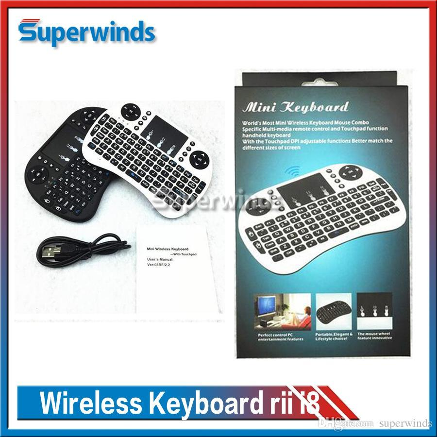 10X 2016 Wireless Keyboard rii i8 keyboards Fly Air Mouse Multi-Media Remote Control Touchpad Handheld for TV BOX Android Mini PC Free Ship
