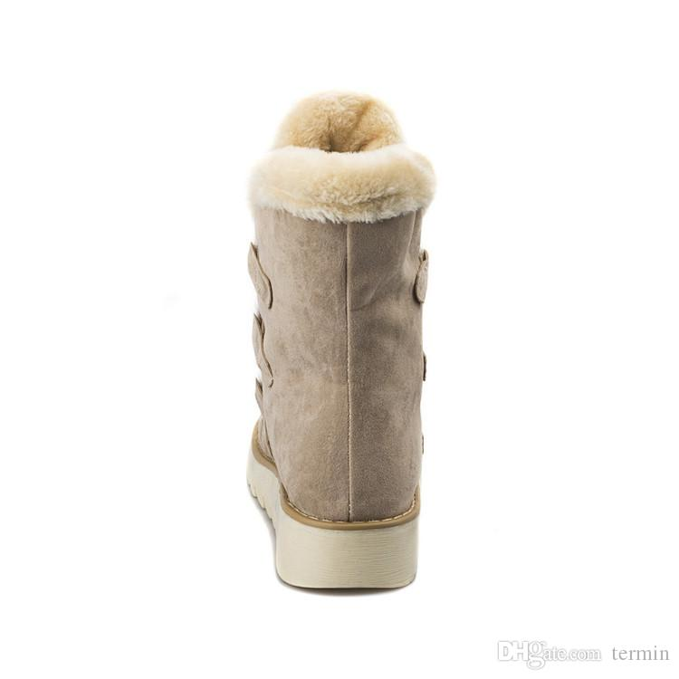 Large sizes boots For women Fashionable women's leisure shoes add Shoes for warm fur Lace on lace Winter boots on the platform XDX-086