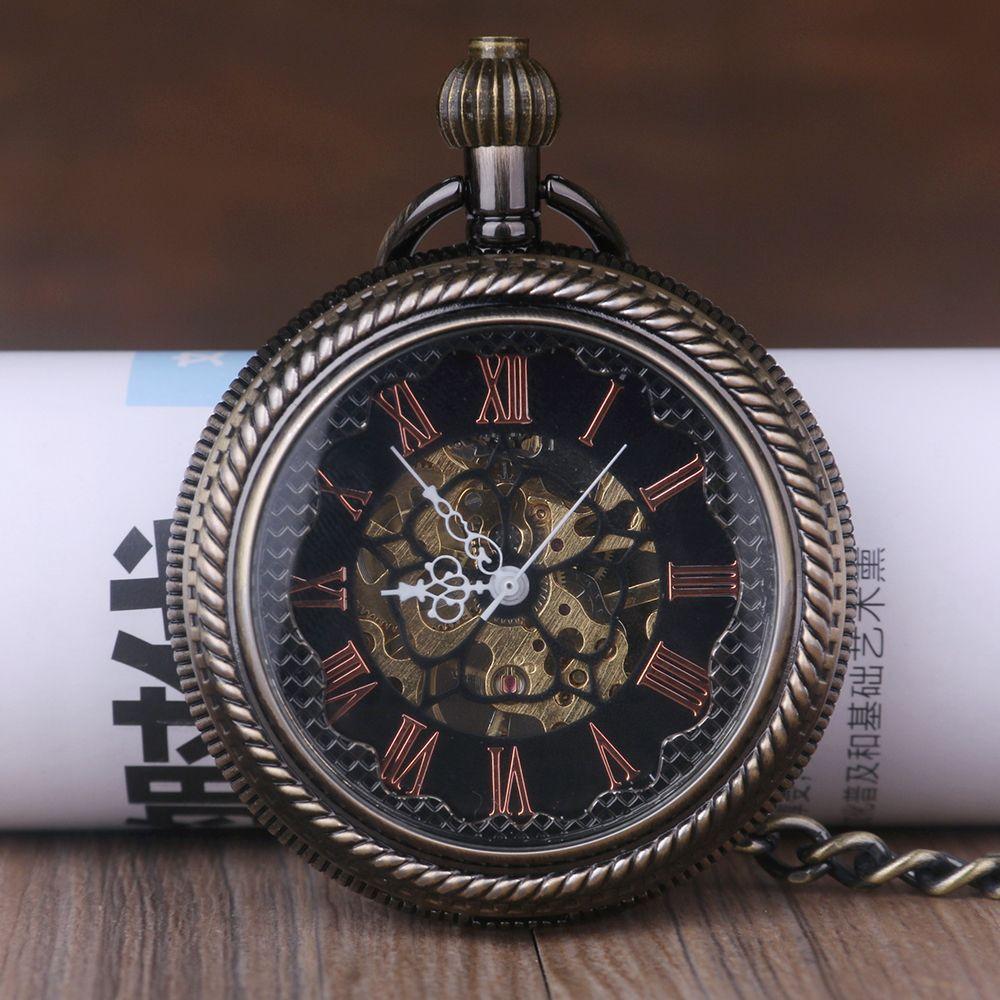 Relojes Dropshipping Colgante Fob Retro Pocket Mechanical Reloj Steampunk Homme Bronce Esqueleto Vintage Collar Hombres WEDeIH29Y