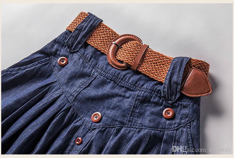High Waist Long Skirts Women Maxi Jeans Skirts With Belt Pleated Denim Skirts Button Big Size S M L XL XXL 3XL 4XL 5XL 6XL 2018