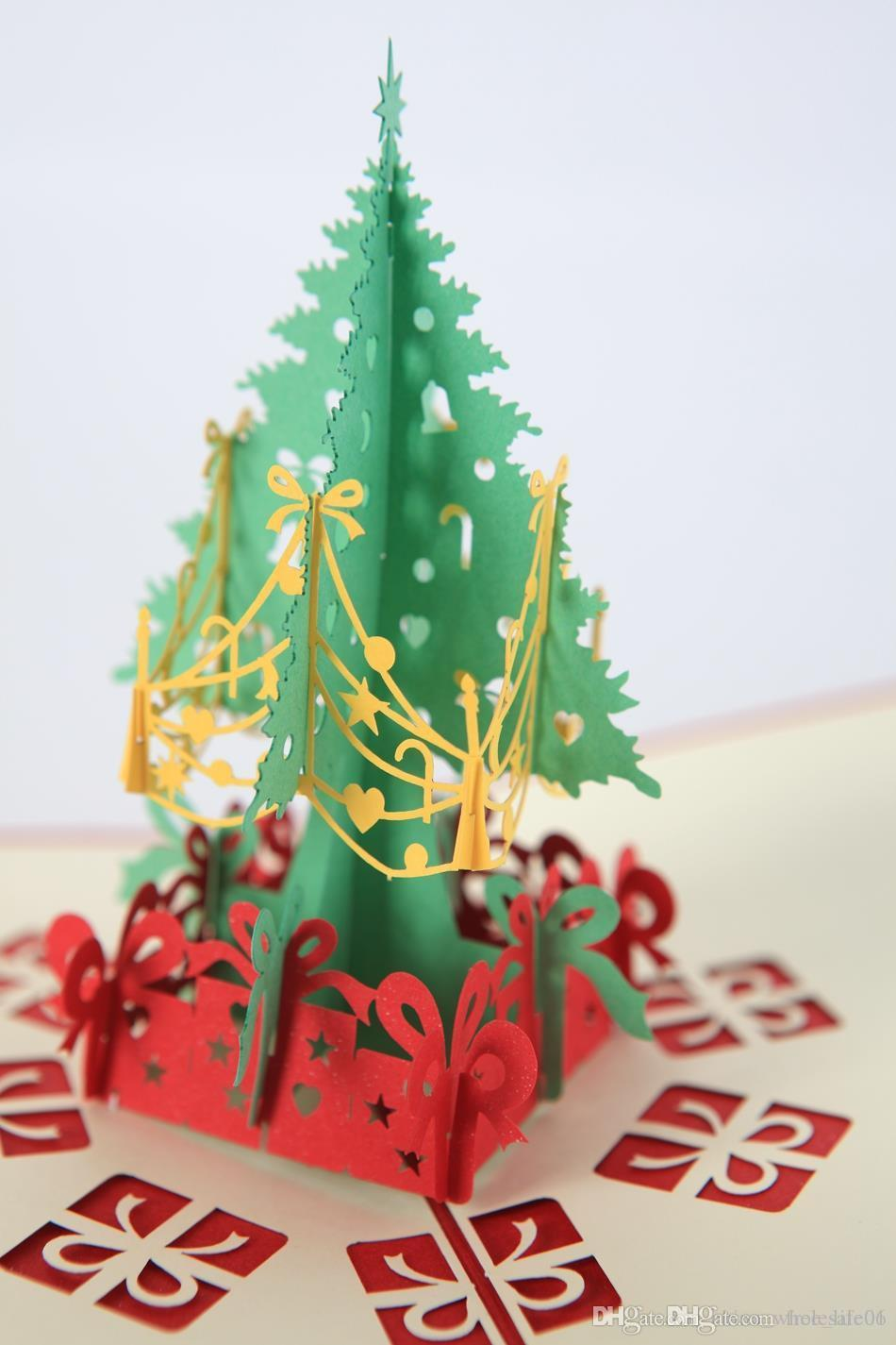 Merry Christmas Tree Vintage 3d Laser Cut Pop Up Paper Handmade
