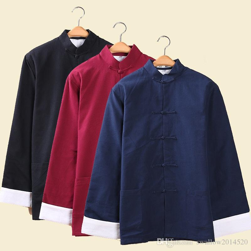 Estilo chino de algodón Tai chi top Hombres chaqueta de manga larga Tang outwear ropa tradicional china Wushu Kung fu de primavera