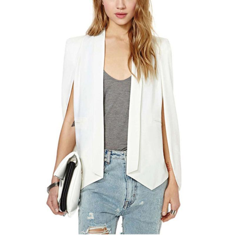 Loneyshow Lapel Cape Poncho Blazer Suit Coat New Ladies Women Long Sleeve Sexy Office Jacket Cloak Workwear Blazers