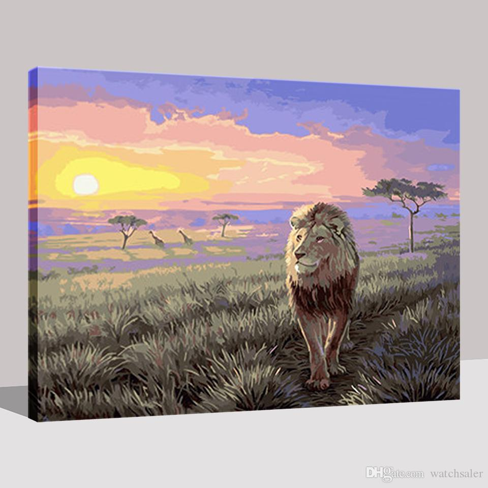 Framework DIY Oil Painting By Numbers Hand Painted Lion Landscape Pictures Drawing Kits Coloring On Canvas Living Room Wall Art