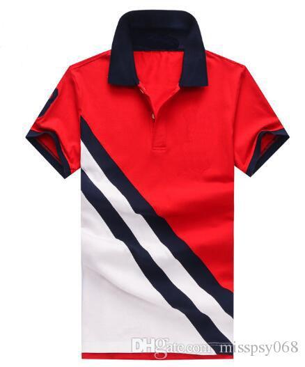 Pop homens camisa polo americano grande cavalo manga curta casuais respirável camisas turn down collar polos homens moda camisa