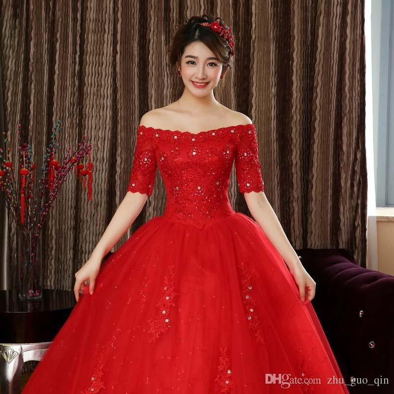 Livraison gratuite 2018 New Desing Demi-manches Robes De Mariée Blanches Rouges Princesse Dentelle Robes De Mariée De Mariage Qualité Mariage Frocks