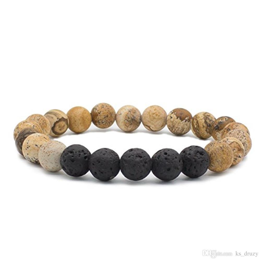 Natural Chakras Black Lava Stone Beads Bracelets Essential Oil Diffuser Bracelet Volcanic Rock Beaded Hand Strings Jewelry
