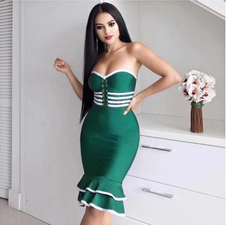 b052201dad8 Top Quality Sexy Strapless Green Black Mermaid Bandage Dress 2018 Celebrity  Designer Fashion Dress Vestido Long Dresses Women Summer Dress Women From  ...