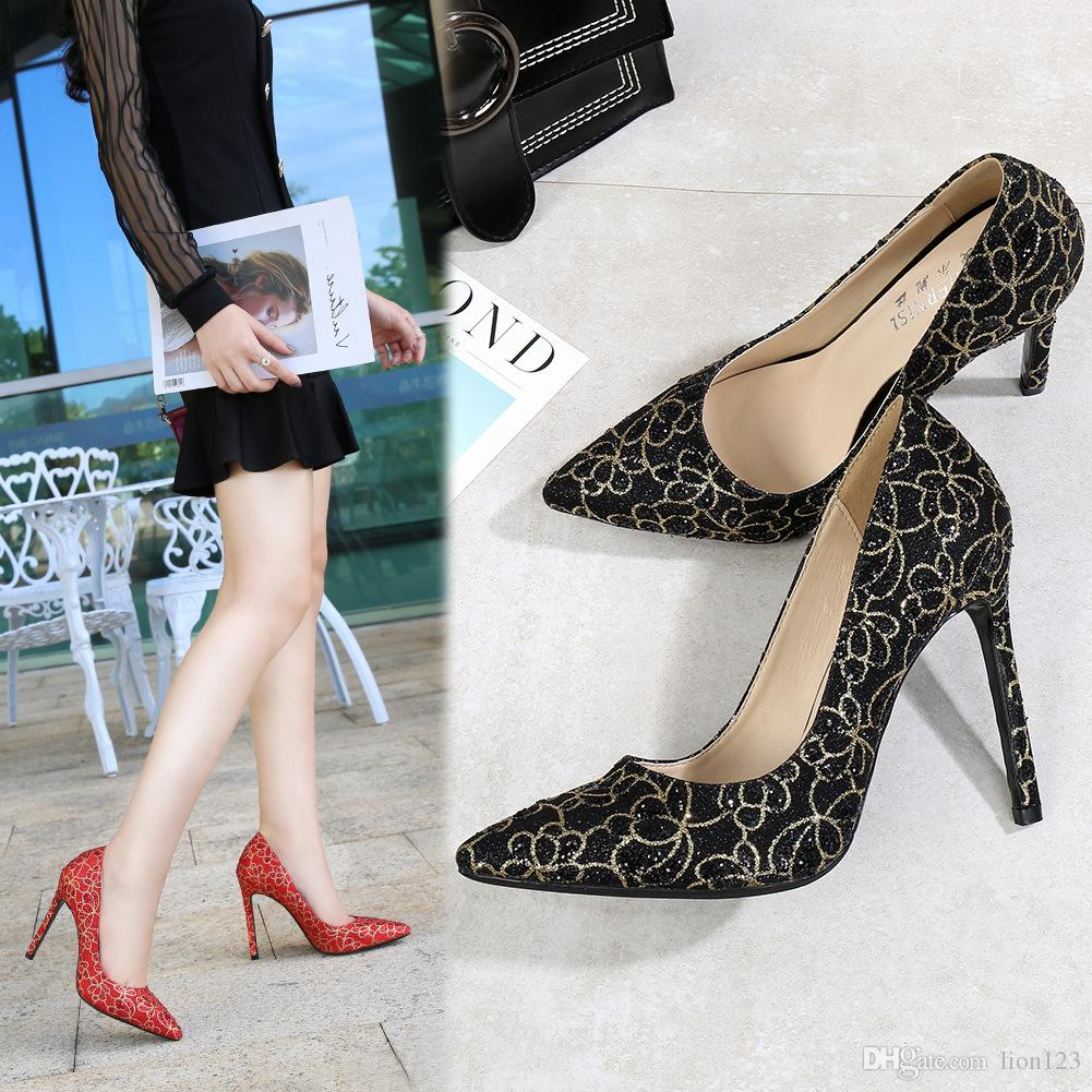 ae1bb6e262ee45 Fashion Dress Pumps High Heels Heeled Shoes 11cm Sexy Pointed Toe ...