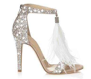 2018 Bling Bling Cristal Embellished Sandálias de Salto Alto Fringe Pena Casamento Sapatos de Salto Alto Brilhando Strass Sandália