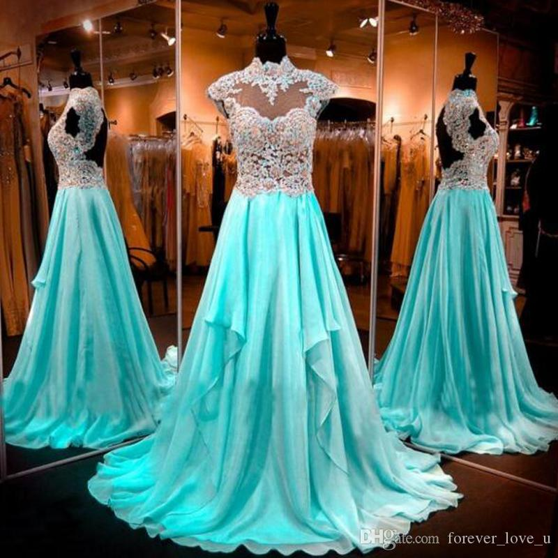 75feed990987 Light Blue High Neck Prom Dresses Capped Sleeves Open Back Beads Sequins  Crystals Lace Appliques Illusion Top Chiffon Evening Gown Formal Formal Prom  ...