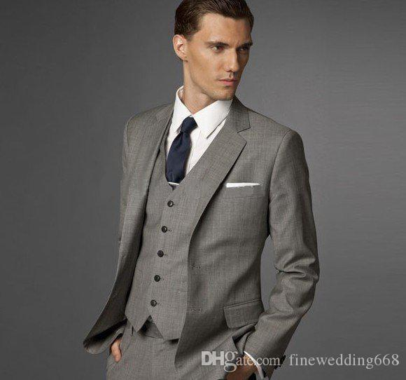 Smoking Groomsmen alla moda Groomsmen Grey Vent Slim Abiti Fit Best Man Suit Matrimonio / Abiti uomo Bridegroom (Jacket + Pants + Vest + Tie) NO: 39