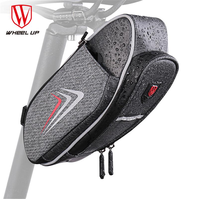 WHEEL UP 2018 Bicycle Saddle Bag With Water Bottle Pocket Cycling Rear Seat Tail Bag Bicycle Rear Top Tube Waterproof MTB